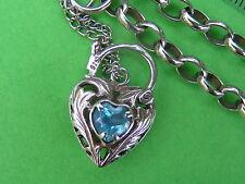 Heart Locket, Bracelet, Topaz, Belcher, Sterling Silver.925, 9.3g, 20x5cm