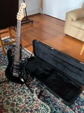 Modded/Upgraded Blacktop HSH Squier Electric Guitar w Case, Stand, and Hanger