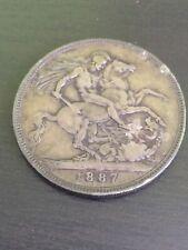 1887 QUEEN VICTORIA SILVER CROWN COIN - Nice condition