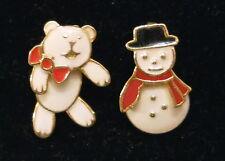 Pierced Earrings Berebi Teddy Bear & Avon Snowman - A Unique Marriage ✿