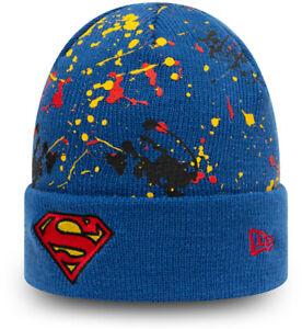 Superman New Era Kids Paint Splat Cuff Knit Blue Beanie (Age 4 - 12)