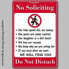 "No Soliciting Do Not Disturb Home Security Sign Aluminum Brand New 8""x12"" Funny"