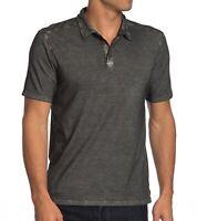 John Varvatos Star USA Men's Short Sleeve Polo Shirt Garment Washed Cement