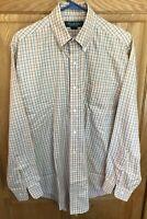 Brooks Brothers Country Club Egyptian Cotton Shirt peach plaid Size M/R Medium