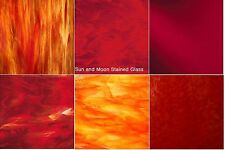 8x5 Red Variety Glass Stained Glass Sheets  -:  6 Sheets