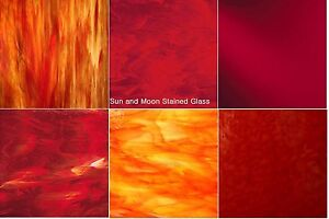 8x5 Red and Orange Variety Glass Stained Glass Sheets  -:  6 Sheets