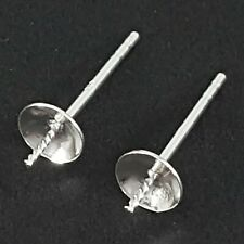 Earring Posts 5mm Cup With Peg 925 Sterling Silver Findings For Jewellery Making