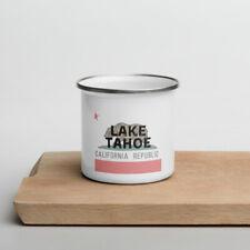 Lake Tahoe California State Flag Background Enamel Mug