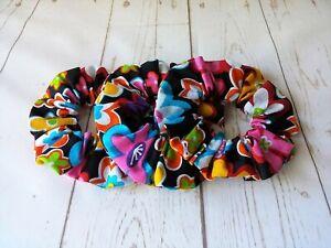 Set/3 Handmade Hair Scrunchies Ponytail Holder Messy Bun Floral Gift NEW