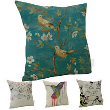 Linen bird Art Oil Painting Throw Pillow Case Sofa Decor Cushion Cover Novelty