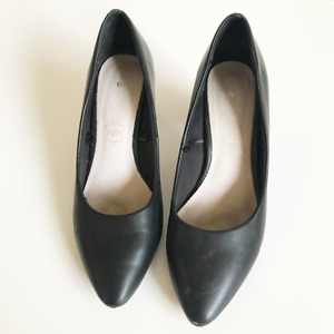 Target Heels Pointed Chunky Black Faux Leather Work Shoes Size 7 Business Evenin