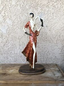 """A Santini Lady in Red with Scarf Signed 131/3500 Sculptue Figure 18"""""""