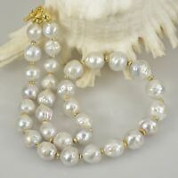 NECKLACE White KASUMI Freshwater PEARLS & Gold Vermeil .925 Sterling SILVER 19""