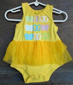 Faded Glory Infant One Piece Tutu Yellow w/Butterflies 3-6 Months