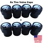 8pcs Punisher Wheel Tire Valve Cap Stem Cover For Bike Car Trucks Atv White