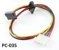20inch 4-Pin Molex Male to Dual 90 Degree SATA 15-Pin Female Power Cable, PC-035