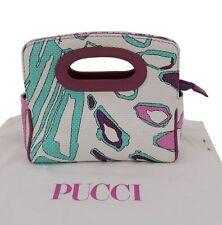 Emilio Pucci Tasche clutch Leder weiß multicolor canvas handle bag sac wie neu