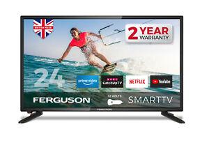 "FERGUSON 24"" INCH 12v VOLT LED TV SMART & FREEVIEW HD  WIFI HDMi USB CARAVAN TV"