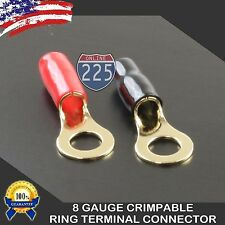 """8 Gauge Gold Ring Terminals 20pc Pcs Pair Wire Crimp Cable Red Black Boots 3/8"""""""