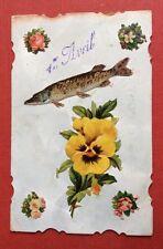CPA. 1er AVRIL. 1906. Ajoutis Chromos. Poisson. Brochet? Pensée. Fleurs.