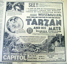 1934 NY Times newspaper w MOVIE Ad TARZAN AND HIS MATE Weissmuller & O'Sullivan