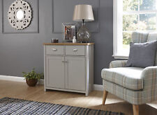 Grey Oak Sideboard 2 Door 2 Drawer Storage Cupboard Metal D Cup Handles