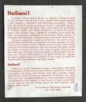 Storia WWII Politica - Volantino CLN - Liberazione di Roma - 1944