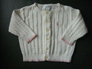 Ralph Lauren Baby Girls White Cardigan Aged 9-12 Months BNWT RRP £95