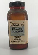 Vintage Apothecary Mallinckrodt Potassium Dichromate Amber Glass Pharmacy Bottle