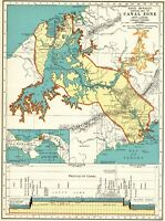 1937 Antique PANAMA CANAL Map Vintage Maritime Canal Map Gallery Wall 7999