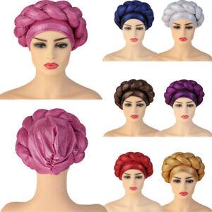 African Braid Turban Hat Women Head Wrap Hijab Bonnet Hair Loss Chemo Cap Muslim