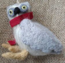 Handcrafted felt wool OWL DOOR HANGER grey Christmas tree decoration bird NEW
