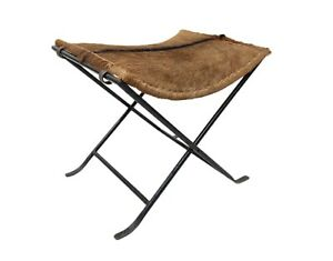Genuine Goat Hair Leather Karr Stool Modern Unique Chair With Iron Stand S6-56