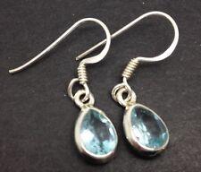 Sky Blue topaz Gemstone Pear Drop Earrings, Solid sterling silver, New. 8 X 6mm