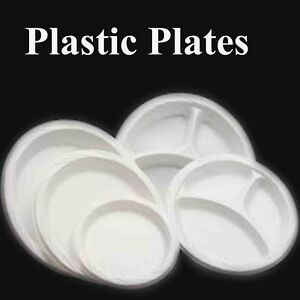 STRONG WHITE PLASTIC DINNER PLATES Party Round Lipped Disposable Plates