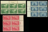 617-19, Mint VF NH Set of Three Plate Blocks CV $427.50 - Stuart Katz