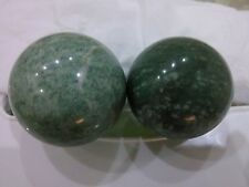 Pair of Green Jade Hot Stone Massage Spheres 5 cm Exercise Massager Health BALL