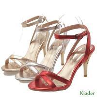 Fashion Womens Sandals Ankle Strap Peep Toe Stilettos High Heels Slingback Shoes