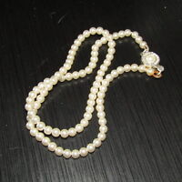 Vintage Necklace Faux Pearl Rhinestone Costume Jewelry Single Strand