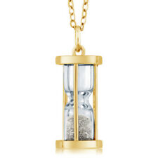 "18k Gold Plated Silver Hourglass Pendant with 0.50 Ct Diamond Dust 18"" Chain"