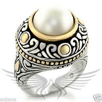 Beautiful Synthetic Pearl Accented Two Tone GP Solitaire Ring 7X137 *