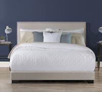 Upholstered Queen Size Platform Bed W/ Wood Slats & Headboard Frame, Light Gray