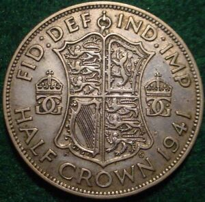 LARGE SILVER 1941 1/2 CROWN GREAT BRITAIN**
