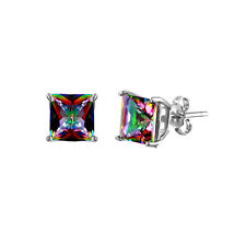 925 STERLING SILVER PRINCESS CUT STUD EARRINGS W/ MYSTIQUE TOPAZ / 5MM SQUARE