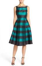 Adrianna Papell Black Teal Striped Mikado Midi V-back Dress - Size 10 NWT $229