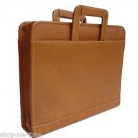Piel Leather Full-Grain Colombian Leather Three-Ring Binder Saddle Briefcase New