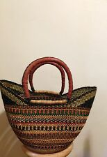 Large Black, Orange , Green Wing Shopper   African Bolga Tote Basket     # 29