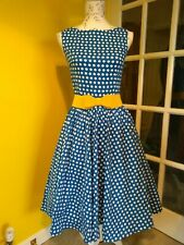 Lindy Bop Audrey Blue/White Polka Dot Swing Dress Size 8