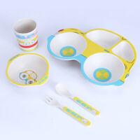 KQ_ Baby Feeding Frame Plates Infant Kids Bowl Spoon Bamboo Fiber Tableware Dura