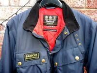 rare Barbour International Lightening Gold jacket XL in blue nylon & red lined